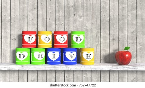 Nine stacked food cans on a white wooden board in front of a grey planks background and an apple charity donation food drive concept 3D illustration