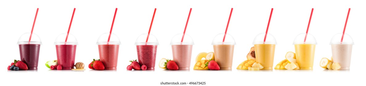 Nine tastes of smoothie in plastic cup