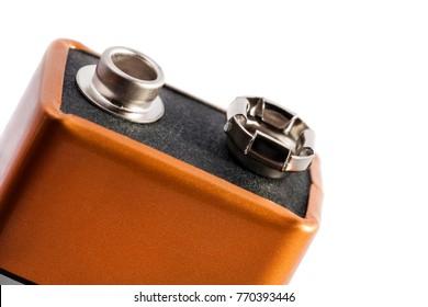 Nine volt battery isolated on white background