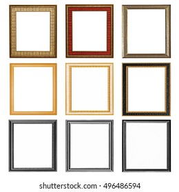 it is nine wooden frames isolated on white.