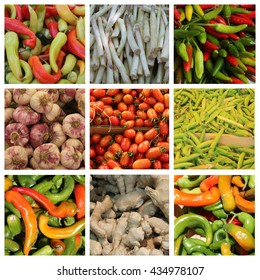 Nine XL vegetable images in a collage