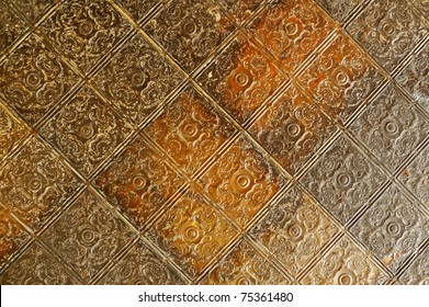 Nineteenth century embossed tin ceiling tiles