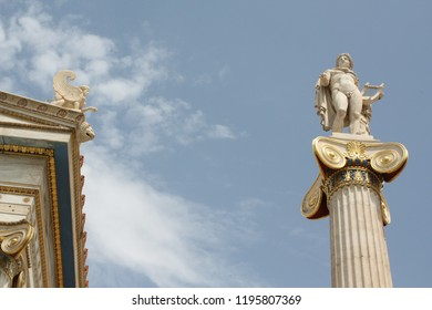 Nineteenth century neoclassical statue of Apollo (god of the Sun according to ancient Greek mythology) outside the Academy of Arts of Athens in Greece.