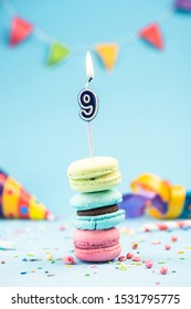 Nineth 9th Birthday Card with Candle in Colorful Macaroons and Sprinkles. Card Mockup.