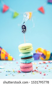 Nineth 9th Birthday Card with Candle Blown Out in Colorful Macaroons and Sprinkles. Card Mockup.
