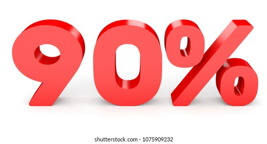 Ninety percent off. Discount 90 %. 3D illustration on white background.