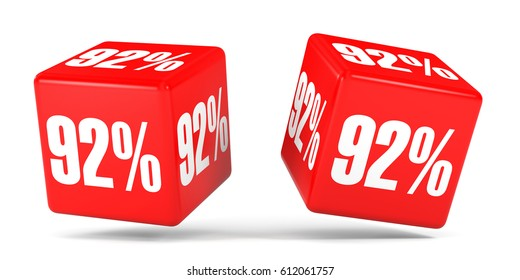 Ninety two percent off. Discount 92 %. 3D illustration on white background. Red cubes.