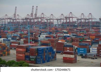 Ningbo / China - 05.14.2019 : Cargo terminal of the sea port of Ningbo