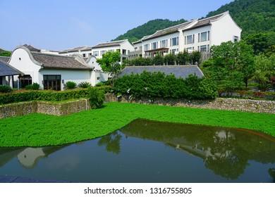 NINGBO, CHINA -10 JUN 2018- View of the Park Hyatt Ningbo, a luxury hotel located in Ningbo Shi, Zhejiang Sheng, China.