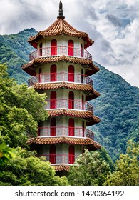 NINGBO CITY, HUALIEN/TAIWAN- MAY 2019: A close up view of the Tianfeng Pagoda in Ningbo City, Hualien Taiwan.