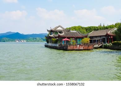 Ningbo, Fujian/china-10/2/2018: An old restaurant built on the ship on dongqian lake ningbo china