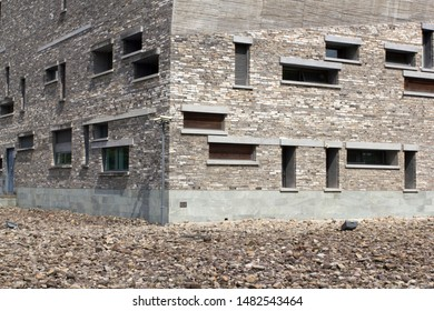 Ningbo, Zhejiang Province, China - Aug 3, 2019: Architectural details of Ningbo Museum, designed by architect Wang Shu. Wang became the first Chinese citizen to win Pritzker Prize in 2012.