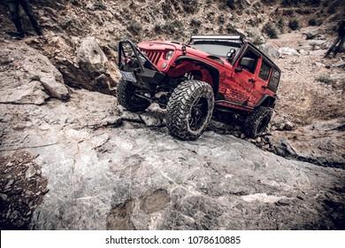 Ningxia China May 25 2016 Jeep Rock climbing in the  He Lan mountains
