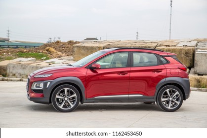 Ninh Binh, Viet Nam - Aug 22, 2018: New Hyundai Kona, model year 2018 in Vietnam on test road in test drive. Kona is a five door crossover SUV designed by the South Korean manufacturer Hyundai.