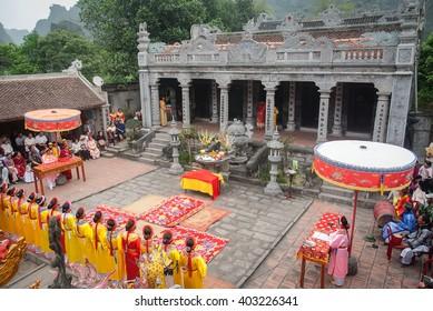 Ninh Binh, Vietnam, April 9, 2016 Thai Vi Temple Festival, Ninh Binh, Vietnam