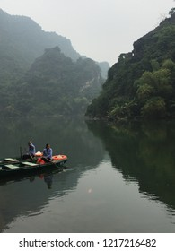 NINH BINH, VIETNAM - JANUARY 02, 2018: a boatride in trang an district along the scenic water ways