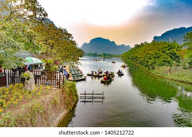 Ninh Binh, Vietnam, January 4, 2019 - Trang An, Ninh Binh, vietnam. Trang An is UNESCO World Heritage Site, renowned for its boat cave tours. It's Halong Bay on land of Vietnam