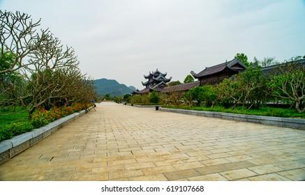 Ninh Binh, Vietnam, March 25, 2017: Bai Dinh Pagoda, Trang An/Bai Dinh pagoda. One part of the Trang An Scenic Landscape Complex was inscribed as a UNESCO World Heritage Site