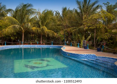 NINH THUAN,VIETNAM, -APRIL 19, 2018:Swimming pool at Con Ga Vang Chu Resort, Phan Rang Beach, Ninh Thuan, Vietnam