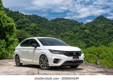 Ninhbinh, Vietnam - Jun 26, 2021: Honda City RS (model 2021) car is on the road in road-trip, Vietnam.