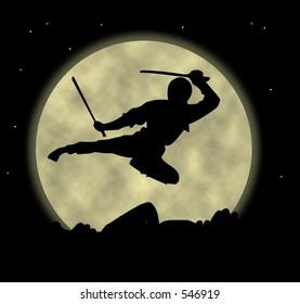 A ninja flying through the moonlight