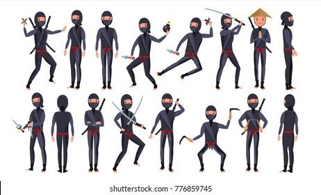 Ninja Set. Samurai Characters. Attacking, Moving, Jumping, Kicking. Isolated On White Background Flat Cartoon Illustration