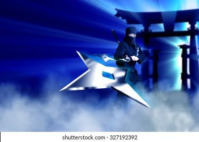 Ninja throwing metal star towards camera with blue fog background