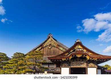 The Ninomaru Palace with pine trees in Nijo-jo Castle in Kyoto. Japan.UNESCO World Heritage Site.