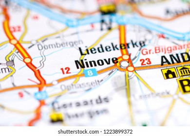 Ninove. Belgium on a map
