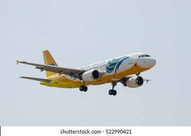 Ninoy Aquino International Airport, Pasay, Philippines - March 2016: Cebu Pacific airbus a320 in finals for landing