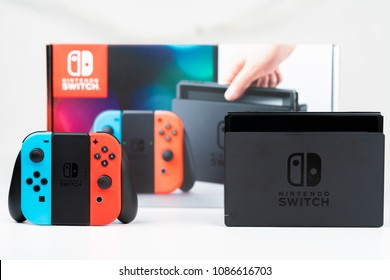 Nintendo Switch Box and control with display and stand isolated on white background
