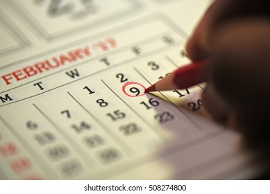 Ninth day of month/ Month Calendar/ Planning mark on the date