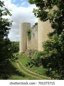 NIORT, FRANCE, JULY 21 2017: The medieval castle of Chateau Coudray- Salbart, in Echire, near Niort. A popular 13th century tourist attraction in Deux- Sevres, currently being restored.