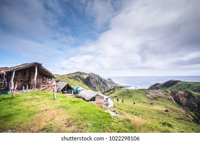 Nipa huts at the hills of Batanes, Philippines.