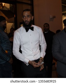 Nipsey Hussle Leaving Def Jam Pre Grammy party at Catch Restaurant Los Angeles, CA February 8th. 2019
