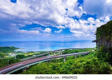 Niraikanai Bridge, landscape. Okinawa, Japan.