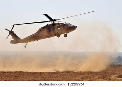 NIRIM, ISR - JUNE 11:Israeli Sikorsky UH-60 Black Hawk helicopter on June 11 2008.More than 2,000 UH-60 Black Hawk helicopter variants are in service with the US Military and more than 600 exported.