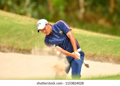 Nirun Sae-Ueng of Thailand in action with during final round the Royal Cup 2018 at Phoenix Gold Golf & Country Club on July 29, 2018 in Pattaya, Thailand.