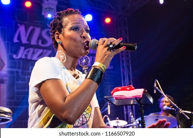 NIS - AUGUST 11:Lisa Simone, daughter of famous Nina Simone was playd and preform on  Nisville Jazz festival on August  11, 2018 in Nis;