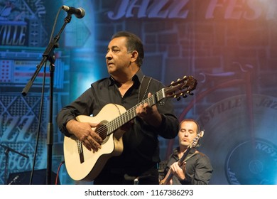 NIS - AUGUST 12: Paco Baliardo with young members of Gipsy Kings band was playd and preform on  Nisville Jazz festival on August  12, 2018 in Nis;
