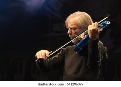 NIS - AUGUST 16:Jean Luc Ponty famous jazz musician and violinist as he plays on Nisville jazz festival, on August 16. 2012 in Nis, Serbia