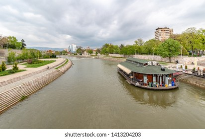 NIS, SERBIA- APRIL 13, 2019: Panoramic view of City of Nis and Nisava River, Serbia