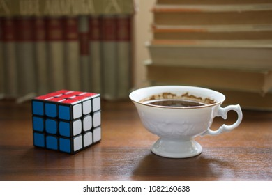 NIS; SERBIA - APRIL 30, 2018: Rubik's cube on the white background. Rubik's Cube on a white background. Rubik's Cube invented by a Hungarian architect Erno Rubik in 1974.