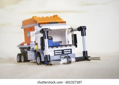NIS, SERBIA - DECEMBER 26. 2016: Lego mobile garbage  truck