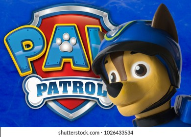NIS; SERBIA - FEBRUARY 9, 2018; Paw patrol toy and cartoon hero Chase with police car and drone