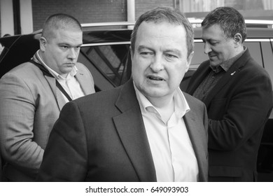 NIS, SERBIA - MARCH 27, 2016: Ivica Dacic, Serbian Minister of Foreign Affairs & Leader of the Socialist Party of Serbia, on March 27, 2016 in Nis.