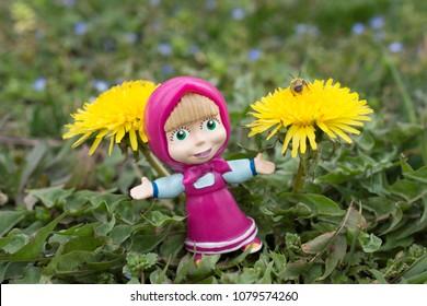 NIS; SERBIA - MARTCH 12, 2018; Masha  toy and cartoon hero from Masha and Bear cartoon movie