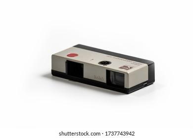 Nis, Serbia - May 11, 2020. Kodak Instamatic 100, old pocket photo camera on a white background