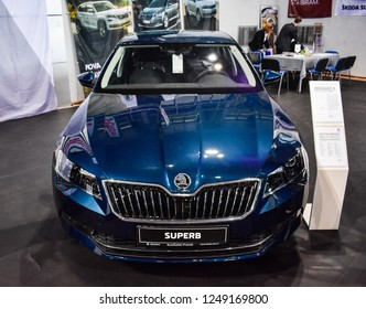 Nis, Serbia - October 06,2018: Skoda Superb Ambition Plus at Auto moto fest in city of Nis