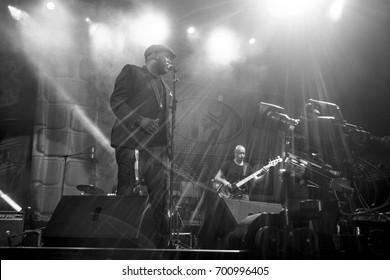 NIS, SERBIA-AUGUST 10, 2017: Tomy Momrelle famous Jazz singer on NisVille JAZZ festival in Nis